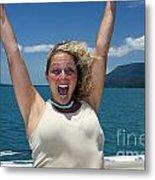 Happy Woman On Holiday  Metal Print