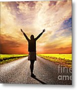 Happy Woman Standing On Long Road At Sunset Metal Print