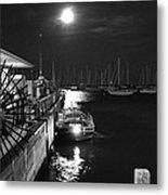 Harbor Boat At Night Metal Print