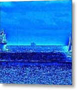 Harbor Of Refuge Lighthouse And Sailboat Abstract Metal Print
