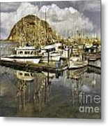 Harbor Reflection Impasto Metal Print