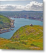 Harbour View From Signal Hill National Historic Site In Saint John's-nl Metal Print