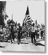 Hard Hat Pro-viet Nam War March Saluting Cops Tucson Arizona 1970 Black And White Metal Print