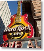 Hard Rock Cafe Guitar Sign In Philadelphia Metal Print