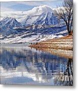 Hardy Fishermen Deer Creek Reservoir And Timpanogos In Winter Metal Print