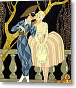 Harlequin's Kiss Metal Print by Georges Barbier