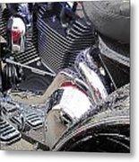 Harley Close-up Blue Lights Metal Print
