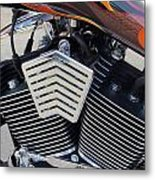 Harley Close-up Orange Flame Metal Print