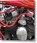 Harley Close-up Pink And Red Flames Metal Print