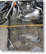 Harley Close-up Rain Reflections Wide Metal Print