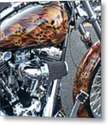 Harley Close-up Skull Flame  Metal Print