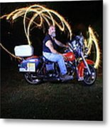 Harley Davidson Light Painting Metal Print