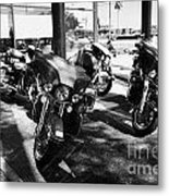 Harley Davidson Touring Motorbikes Including Electra Glide Outside Dealership In Orlando Florida Usa Metal Print