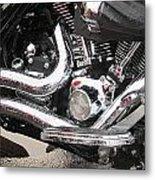 Harley Engine Close-up Rain 2 Metal Print