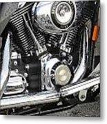 Harley Engine Close-up Rain 3 Metal Print