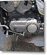 Harley Engine Close-up Yellow Line Metal Print