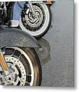 Harley Line Up Rain Metal Print