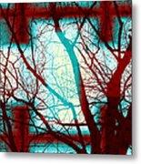 Harmonious Colors - Red White Turquoise Metal Print