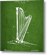 Harp Music Instrument Patent From 1901 - Green Metal Print