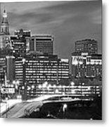 Hartford Skyline At Night Bw Black And White Panoramic  Metal Print