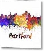 Hartford Skyline In Watercolor Metal Print