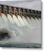 Hartwell Dam With Flood Gates Open Metal Print