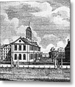 Harvard College, Ca. 1767. From Left Metal Print