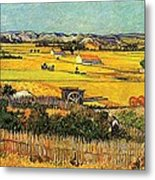 Harvest At La Crau With Montmajour In The Background Metal Print by Vincent Van Gogh