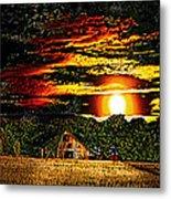 Harvest Moon And Late Barn Metal Print