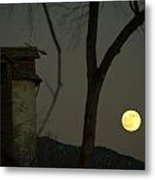 Harvest Moon And The Dead Granary Metal Print
