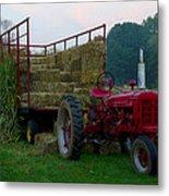 Harvest Time Tractor Metal Print