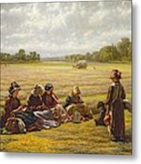 Harvesters Resting In The Sun, Berkshire, 1865 Oil On Canvas Metal Print