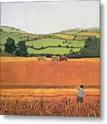Harvesting In The Cotswolds Metal Print