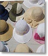 Hats For Sale Next To Marina, Lerici Metal Print