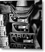 Hats Or Boots Bw Metal Print