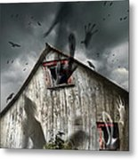 Haunted Barn With Ghosts Flying And Dark Skies Metal Print by Sandra Cunningham