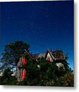 Haunted Farmhouse At Night Metal Print by Cale Best