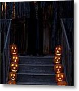 Haunted House With Lit Pumpkins And Demon Metal Print