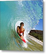 Hawaii, Maui, Makena - Big Beach, Boogie Boarder Riding Barrel Of Beautiful Wave Along Shore. Metal Print