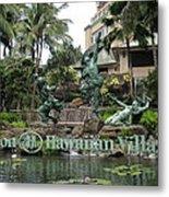 Hawaiian Hilton Statues Metal Print