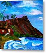 Hawaiian Homestead At Diamond Head Metal Print