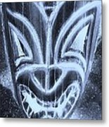 Hawaiian Mask Negative Cyan Metal Print