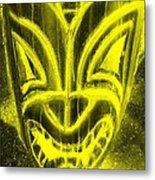 Hawaiian Mask Negative Yellow Metal Print