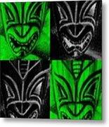 Hawaiian Masks Black Green Metal Print