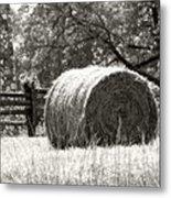 Hay Bale In A Farm Field Metal Print