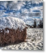 Hay Bale In The Snow Metal Print