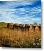 Hay Bales And Contrails Metal Print