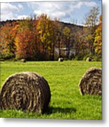 Hay Bales And Fall Colors Metal Print
