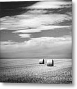 Hay Bales Black And White Metal Print