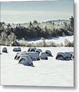 Hay Bales Covered With Snow And Ice In Maine Metal Print